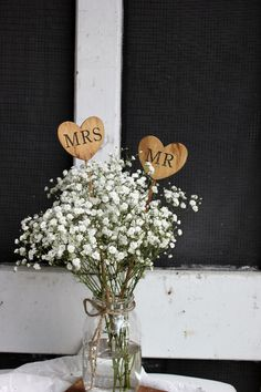mr and mrs rustic country barn caketoppers heart on a stick . rustic farm centerpieces by montanasnow, $12.00