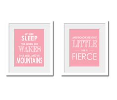 Nursery Print, Nursery Art, Kids Art, Childs Bedroom, Nursery, Home Decor-Let Her Sleep For When She Wakes She Will Move Mountains