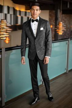 8eacb8535dd89 Expect to be noticed in the Granite Paisley Aries Tuxedo. Pair it with black  ultra slim fit pants for a trim and tapered style. The Aries features a  black ...