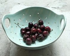 Pottery Berry Bowl with Handle Small in Soft by FringeandFettle