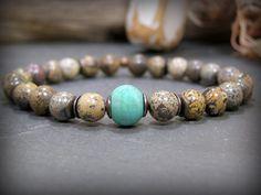 Mens Beaded Bracelet Turquoise Bracelet Jasper par StoneWearDesigns