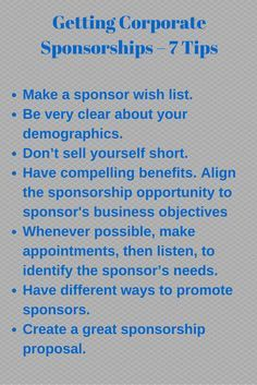 21 best sponsorship savvy images on pinterest nonprofit getting corporate sponsorships 7 tips to get you started fandeluxe Image collections
