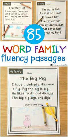 Build word family and sight word fluency with these 85 word family fluency passages. They are perfect for early readers in Kindergarten and grade! Phonics Reading, Reading Comprehension Worksheets, Reading Passages, Reading Fluency Activities, Phonics Books, Beginning Reading, First Grade Reading, Guided Reading, 1st Grade Homework