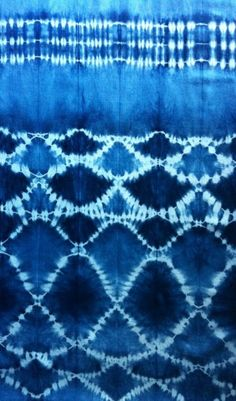 "hand-dyed indigo fabric using the Japanese art of ""Shibori"" via Georgete Keszler Chait"