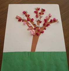 Spring Craft, great for Apple Blossom!  There is a tree template to use + Tissue Paper