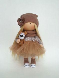 Textile Tilda Doll Handmade Soft Doll Baby Gift Doll Brown Rag