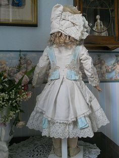 ~~~ Beautiful French White Pique BeBe Costume with Couture Bonnet ~~~ from whendreamscometrue on Ruby Lane