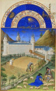 """""""小麦の収穫(ベリー公のいとも豪華なる時祷書 第8葉7月)"""" 1412-1416年 ポル、ヨハン、ヘルマン・ランブール兄弟"""