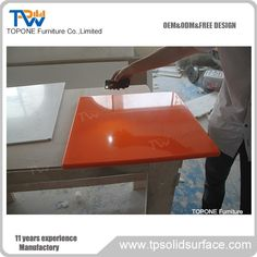Orange Gloss Solid Surface Modern Dining Room Restaurant Table Tops