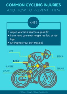 TIP: Adjust your bike seat height to help prevent knee pain from biking. Common cycling injuries: How to prevent knee pain