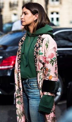 Love this sweatshirt paired with a kimono