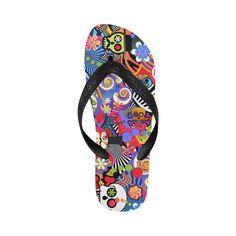 97e12cb466668 Sugar Print Flip Flops Skull Pop Art Colorful Print Flip Flops for Men Women  Art
