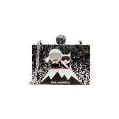 Karl Lagerfeld Women's Holiday Iceberg Minaudiere Bag - Black (€150) ❤ liked on Polyvore featuring bags, handbags, clutches, box clutch, hard clutch, lucite purse, evening clutches and acrylic box clutch