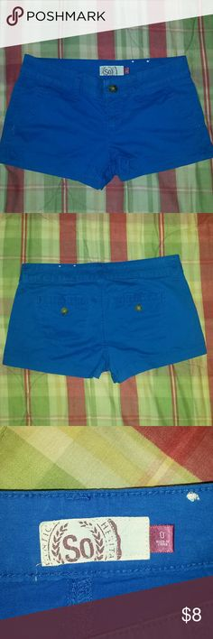 Royal Blue So shorts Royal Blue So brand shorts from kohl's  Slant pockets in front, button close slit pockets in back  Very cute perfect condition  Only worn once, fit to snug. SO Shorts