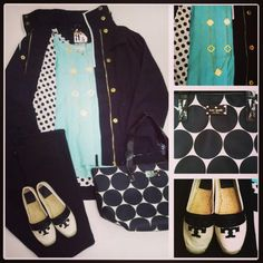 NEW G.E.T, Anorak Jacket in Black w/ White Piping (AND polka dot lining!!)    NEW Covet, Button Front Blouse in Mint,   Lilly Pulitzer, Worth Straight Jean in Black,    Susan Shaw, Clover Necklace,    Tory Burch, Weston Espadrille in Blk/White,    Kate Spade, Small Coal in Blk/White Polka Dot