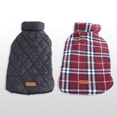 Double your value with a reversible waterproof dog jacket. Switch between a plaid design and a solid color. This style...