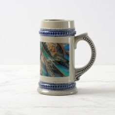 #trendy - #Fashion pattern with blue feathers. Trendy design Beer Stein
