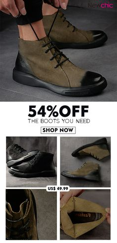 huge discount 6dfdd 2001f  54%OFF Men Vintage Stylish Lace Up Casual Leather Ankle Boots  mens