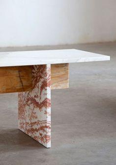 How beautiful is this Muller Van Severen design multi-coloured Marble Bench!