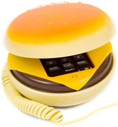 "Hamburger Cheeseburger Burger Phone Telephone IN JUNO(Telephone): As seen in the movie ""JUNO""! This hamburger phone features tone/pulse dial and last number redial and mute features. Burger Phone, Home Phone, Cool Gadgets, Cooking Timer, Retro, Landline Phone, Cool Stuff, Awesome Things, Lovely Things"