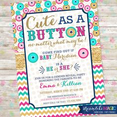 Reveal Party Invitation Ideas Inspirational Gender Reveal Party Cute as A button Gender Reveal Gender Great Gatsby Invitation, Wedding Invitation Samples, Printable Invitations, Custom Invitations, Invitation Ideas, Invitation Templates, Printable Party, Invites, Bowling Party Invitations