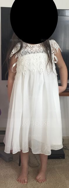 Empire Knee-length Flower Girl Dress - Chiffon/Lace Sleeveless Scoop Neck With Ruffles - Flower Girl Dresses - JJ's House Flower Girls, Flower Girl Dresses, Chiffon Dress, Ruffles, Scoop Neck, Girls Dresses, Wedding Dresses, Lace, Fashion