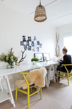 home office set up // white + cheery yellow!