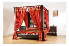 Customised Designer range of Indian hardwood bed available in all sizes. Indian Furniture, Unique Furniture, Bedroom Furniture, Canopy Bed Drapes, Queen Poster, Luxurious Bedrooms, Home Crafts, Interior Design, House Styles