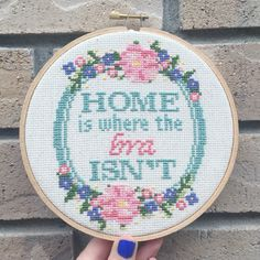 CROSS STITCH PATTERN Home is where the bra is by VANCITYSTITCHCO