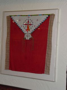 Sioux Cradle Beaded Cover, 1890 On hide and cloth, and framed. It is in excellent condition. Fine period example, all original; very handsome work. Professionally mounted in a Lucite frame. #AAIA