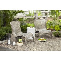 Garden Treasures Tucker Bend Black Steel Seat Woven Patio Chair without Cushions at Lowes.com
