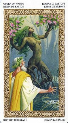 Queen of Wands from the Tarot of the Druids by Antonio Lopateli and Severino Baraldi.
