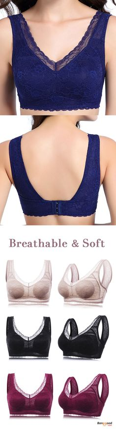 eb837516be Women Plus Size Soft Wireless Lace Breathable Full Coverage Yoga Bras