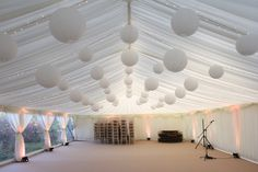 Fairy Lights, Hanging Lanterns and Uplighting for a marquee wedding