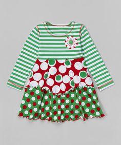 Look at this #zulilyfind! Green & Red Polka Dot Layered Dress - Toddler & Girls #zulilyfinds