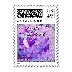 LOVE Wedding PURPLE Lace Rose  Small Stamp #wedding #stamps #love #marriage #romance #bride #groom #jaclinart #love #postage #purple #lace #rose