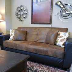 Click Clack Sofa, Great Condition!!! The sofa opens up to storage below and also folds flat into a bed! Perfect for extra company and storing the bedding that would be needed! Priced at $295.00. - Consign It! Consignment Furniture