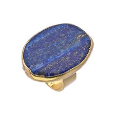 Janna Conner Designs Gold and Lapis Cocktail Ring (€79) found on Polyvore
