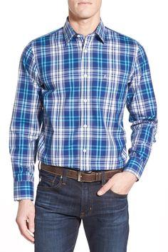 Smartcare Regular Fit Wrinkle Free Plaid Sport Shirt (Big)