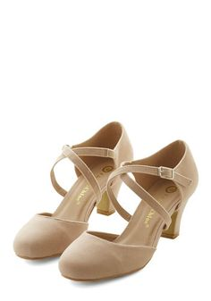 Memorable Moves Heel in Beige. Your retro moves on the dance floor make quite the impression - especially when youre hopping about in these velvety beige heels! #gold #prom #modcloth