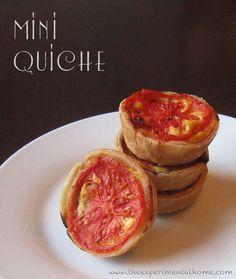 Mini-quiche with ham, scallion and tomato. Perfect for Easter brunch.