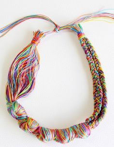 A great party isn't complete without a craft project! This DIY Embroidery Thread Necklace will have your kids grinning from ear to ear. Textile Jewelry, Fabric Jewelry, Beaded Jewelry, Handmade Jewelry, Jewellery, Crystal Jewelry, Bridal Jewelry, Silver Jewelry, Handmade Gifts