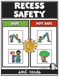 Recess Playground Safety Sorting Cards for Kindergarten & First Grade Sorting Kindergarten, Kindergarten Worksheets, Worksheets For Kids, Preschool Activities, Creative Activities, Playground Rules, Playground Pictures, Playground Safety, Summer Safety