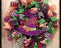 Halloween Candy Corn Deco Mesh Wreath/Candy by CKDazzlingDesign