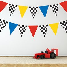 Race Car Flags Wall Decal Stickers Removable and by WallDressedUp, $58.00