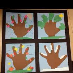 tree seasons handprints | Seasonal Handprint Trees 300x300 Arbor Day Pins: Popular Parenting ...