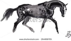 """Vector trotting akhal-teke horse oriental ink painting with Chinese hieroglyph """"horse"""". - stock vector"""