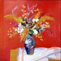 "Carlos Alonso, ""Flores"" óleo 100 x 100 cm. Pintor argentino"