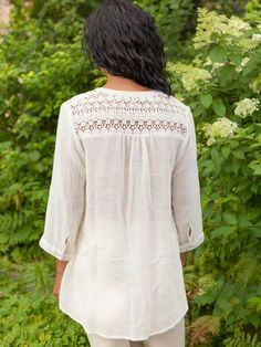 Totally Love This Blouse!! When I design, I always ask myself—What do YOU feel like wearing? And this is pretty much it. Casual, comfortable cotton embellished by old fashioned cutwork lace insets, placed in just the right way on the shoulder panels and around the back yoke. So cute with leggings!