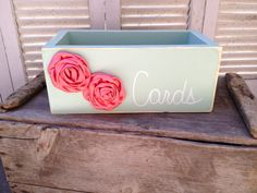 Distressed Mint Green and Coral Wedding Box Wooden Rustic Wedding Cards Holder With Fabric Flower Embellishments on Etsy, $20.00